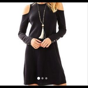 EUC Lilly Pulitzer Black Faire Cold Shoulder Dress